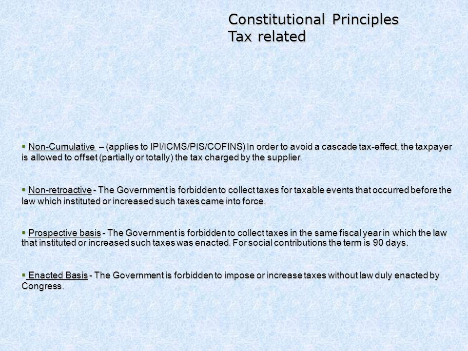 Constitutional Principles Tax related
