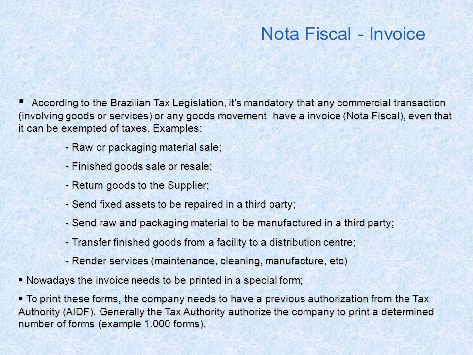 Nota Fiscal - Invoice