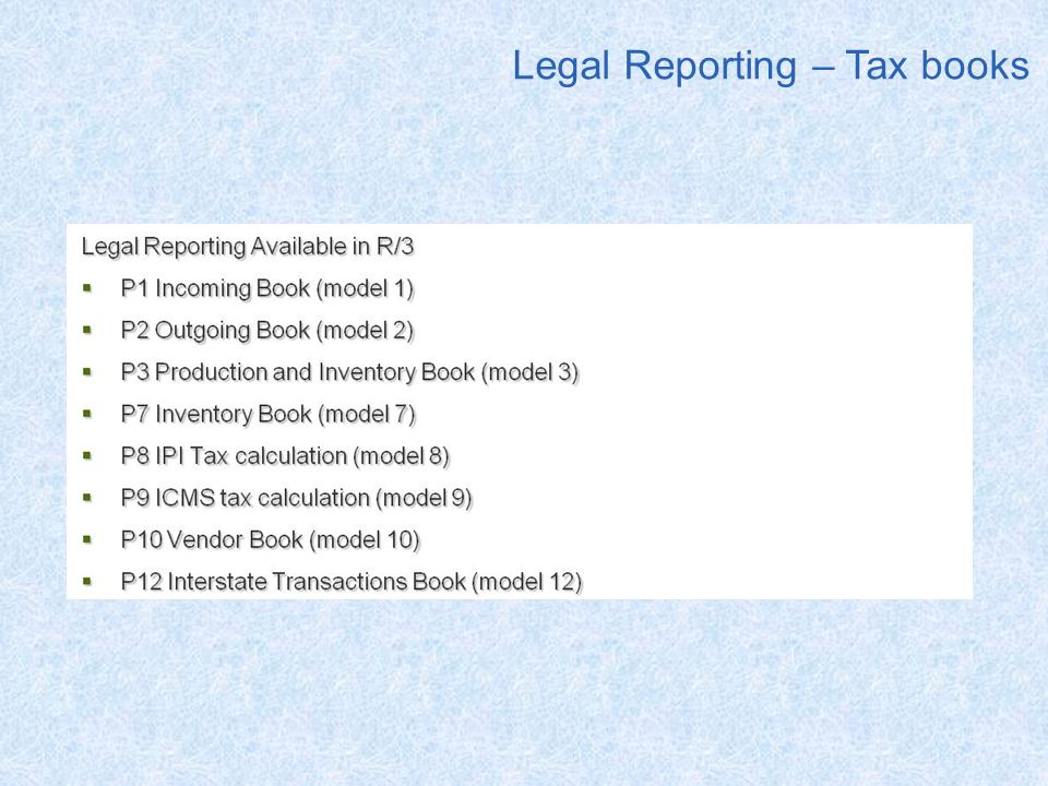 Legal Reporting – Tax books