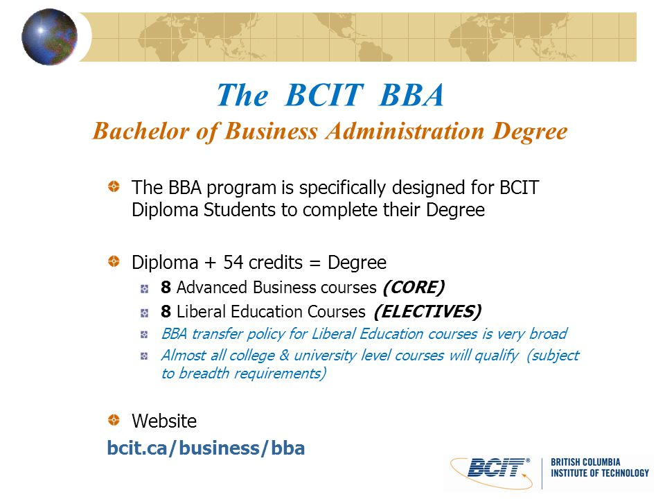 The Bcit Bba Bachelor Of Business Administration Degree Ppt Video