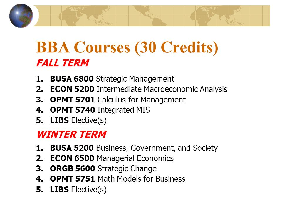 BBA Courses (30 Credits) FALL TERM WINTER TERM