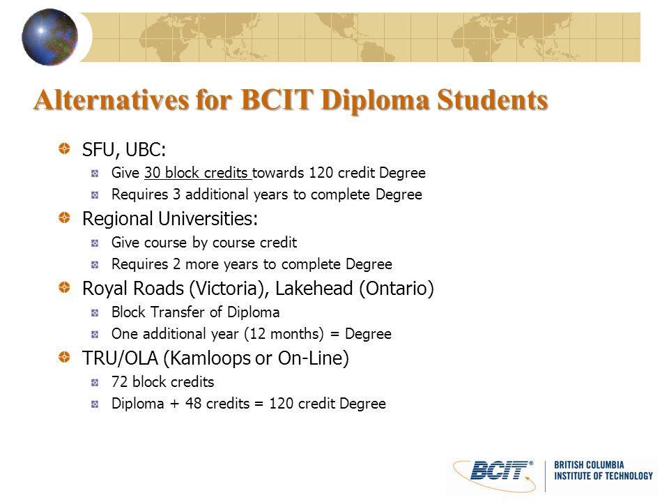 Alternatives for BCIT Diploma Students