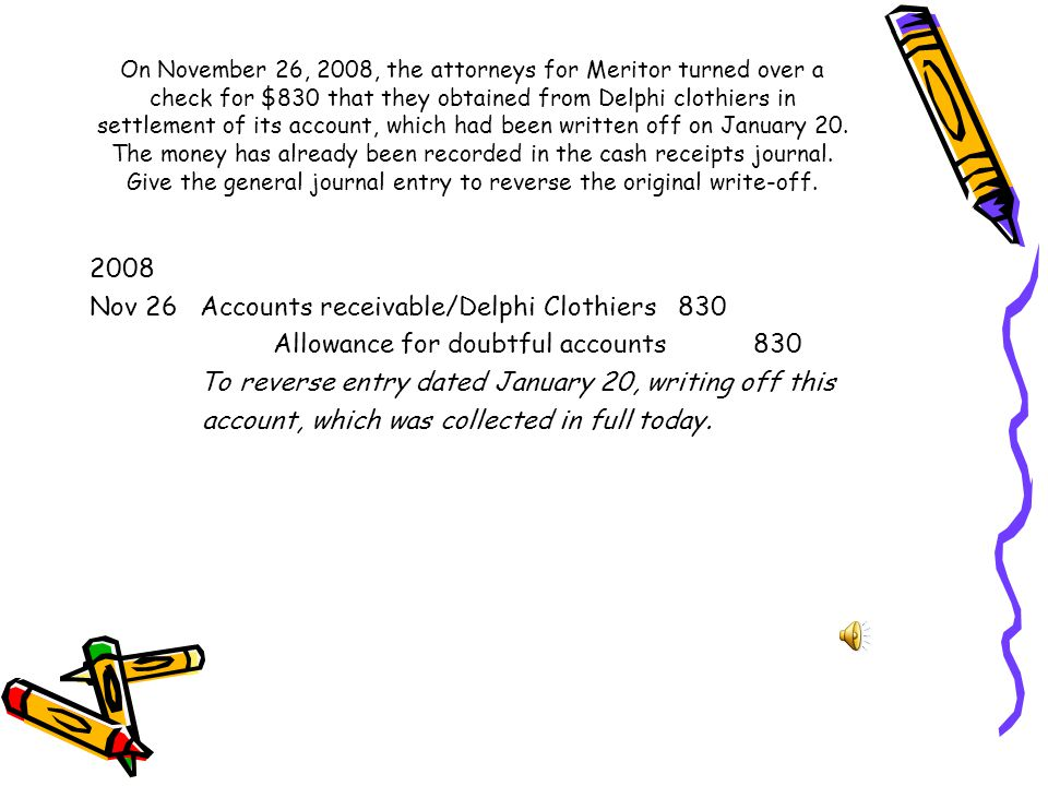 Nov 26 Accounts receivable/Delphi Clothiers 830