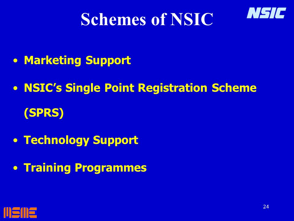 Schemes of NSIC Marketing Support