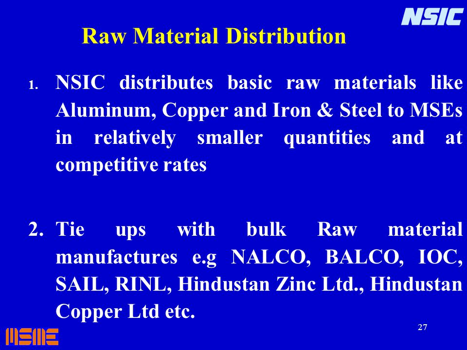 Raw Material Distribution