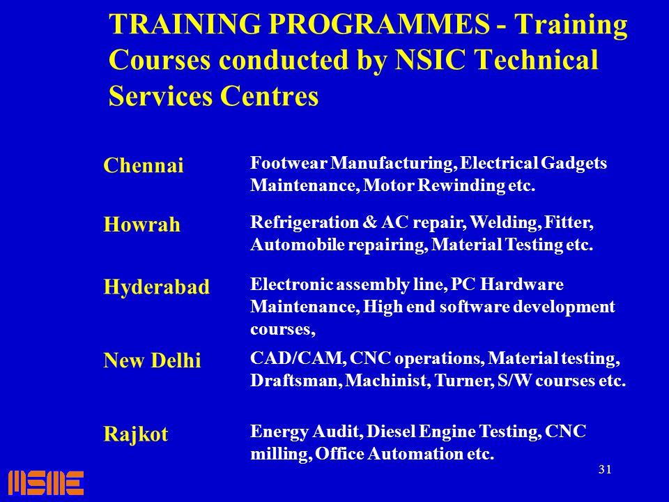 TRAINING PROGRAMMES - Training Courses conducted by NSIC Technical Services Centres