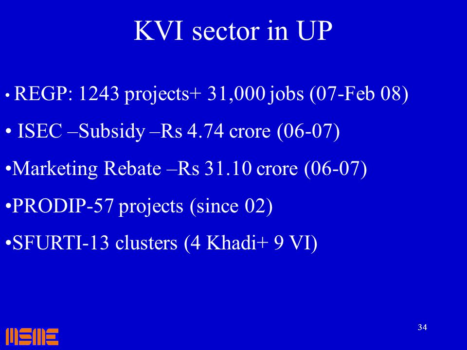 KVI sector in UP ISEC –Subsidy –Rs 4.74 crore (06-07)