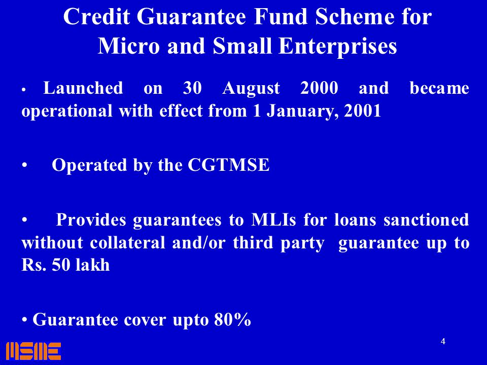 Credit Guarantee Fund Scheme for Micro and Small Enterprises