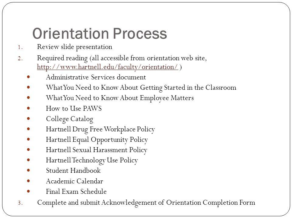 Orientation Process Review slide presentation