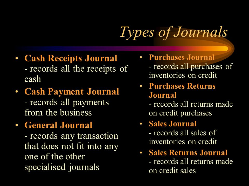 Types of Journals Cash Receipts Journal - records all the receipts of cash.