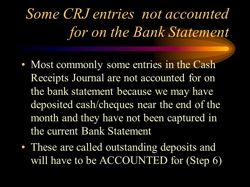 Some CRJ entries not accounted for on the Bank Statement