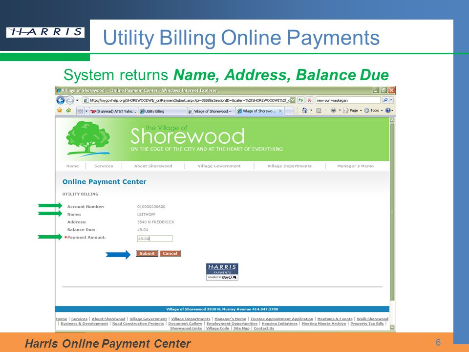 Utility Billing Online Payments