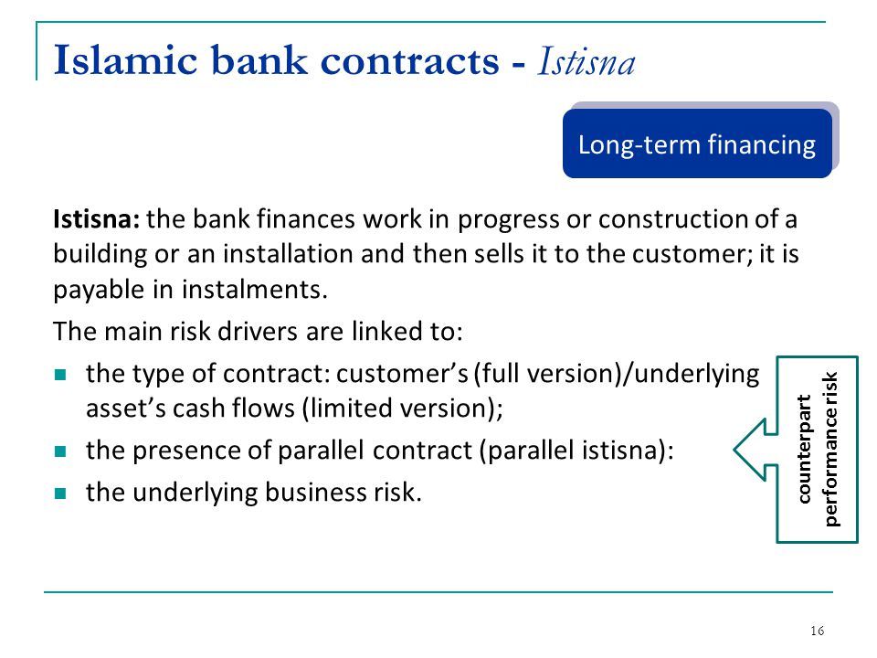 Islamic bank contracts - Istisna