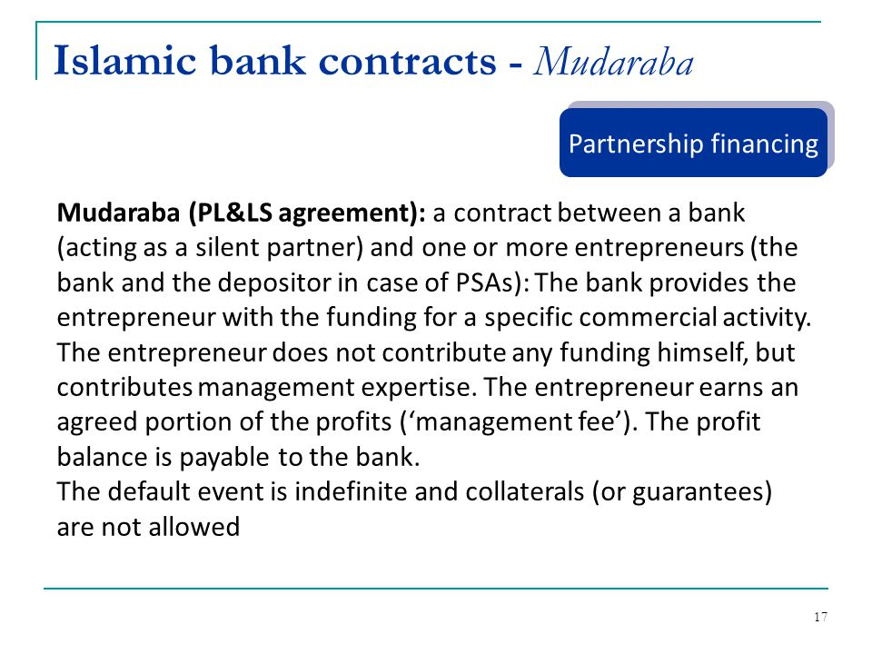 Islamic bank contracts - Mudaraba