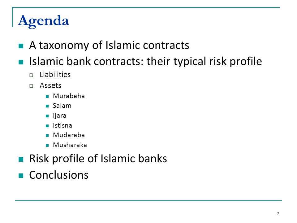 Agenda A taxonomy of Islamic contracts