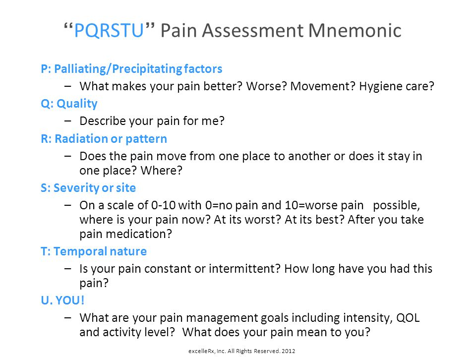 PQRSTU Pain Assessment Mnemonic