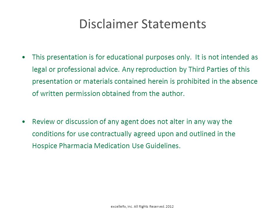 Disclaimer Statements