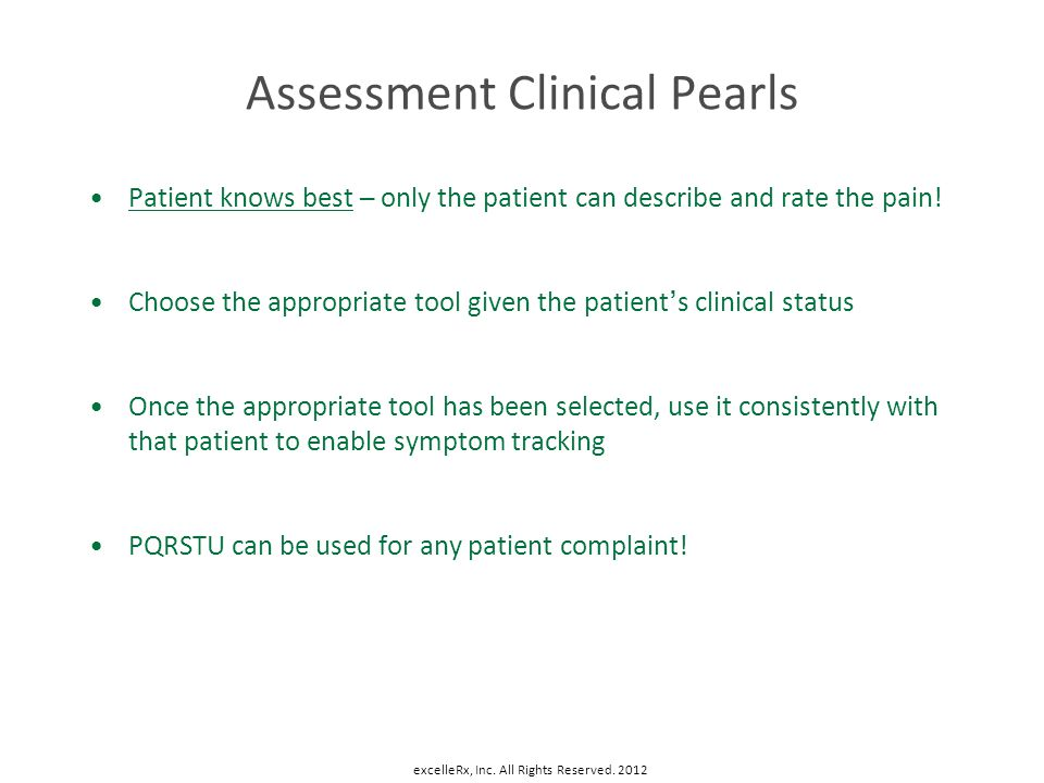 Assessment Clinical Pearls