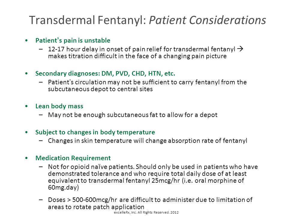 Transdermal Fentanyl: Patient Considerations