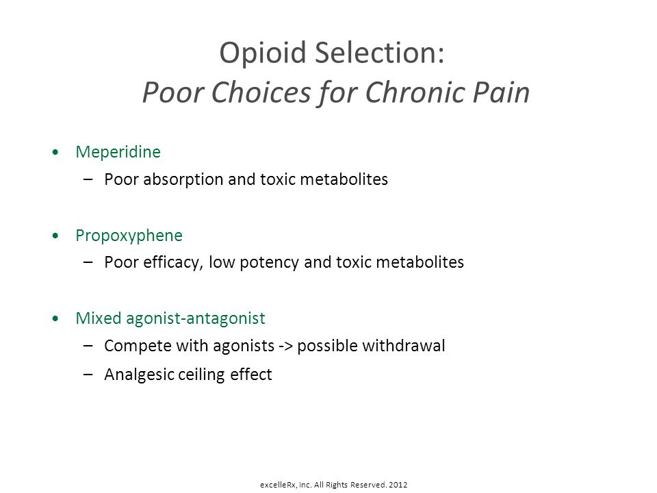 Opioid Selection: Poor Choices for Chronic Pain