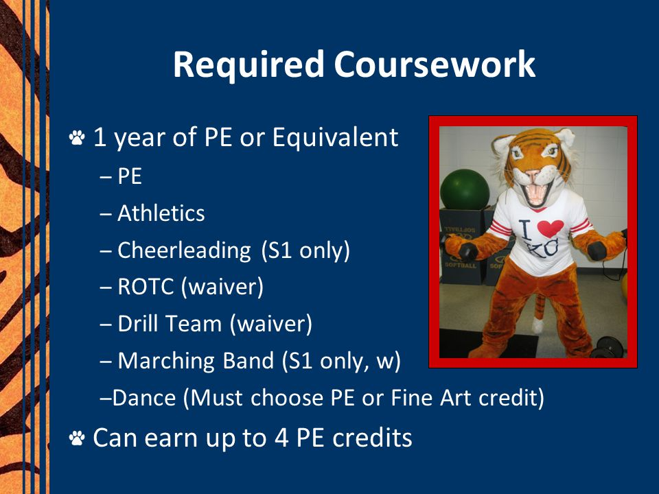 Required Coursework 1 year of PE or Equivalent