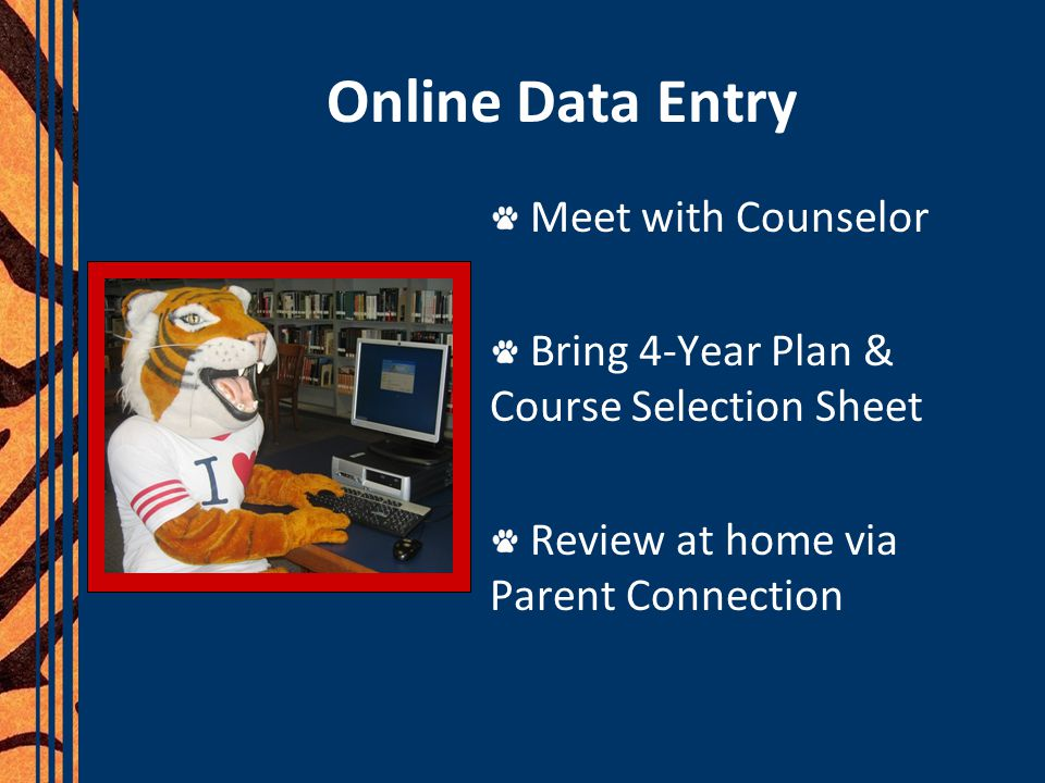 Online Data Entry Meet with Counselor