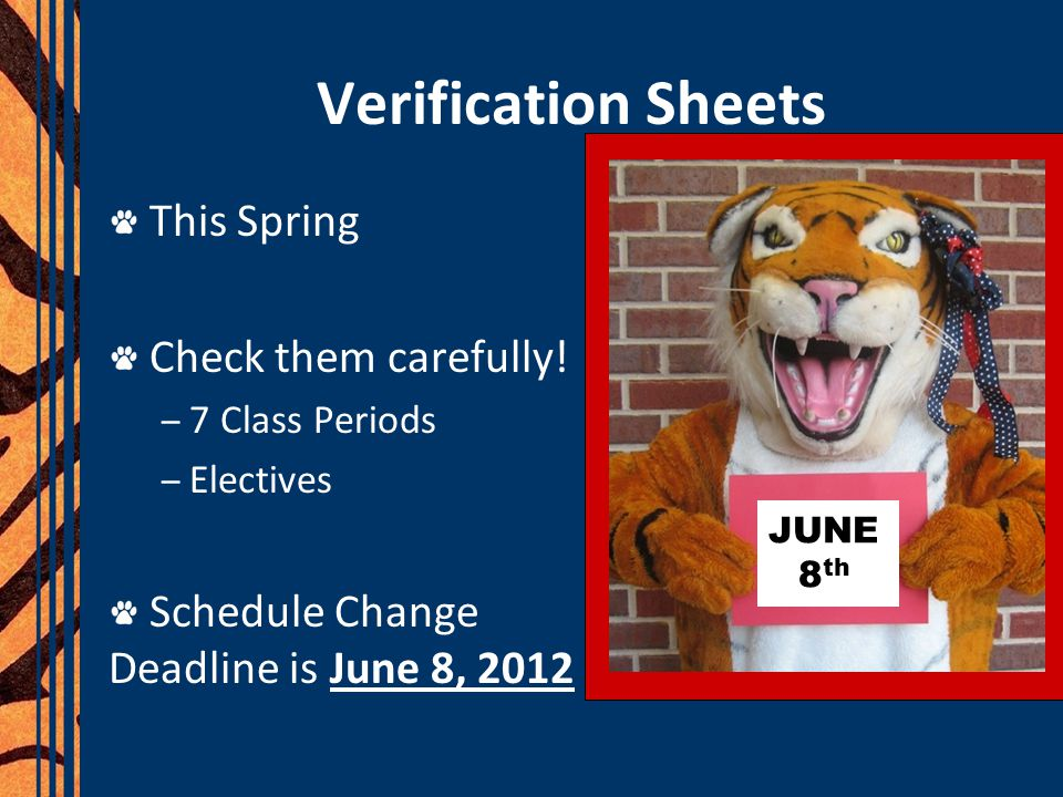 Verification Sheets This Spring Check them carefully!