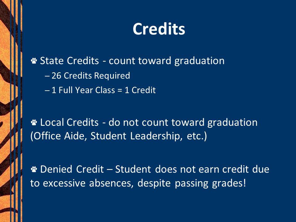 Credits State Credits - count toward graduation