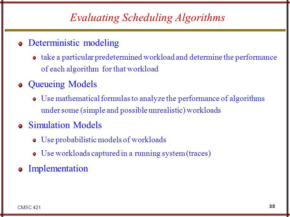 Evaluating Scheduling Algorithms