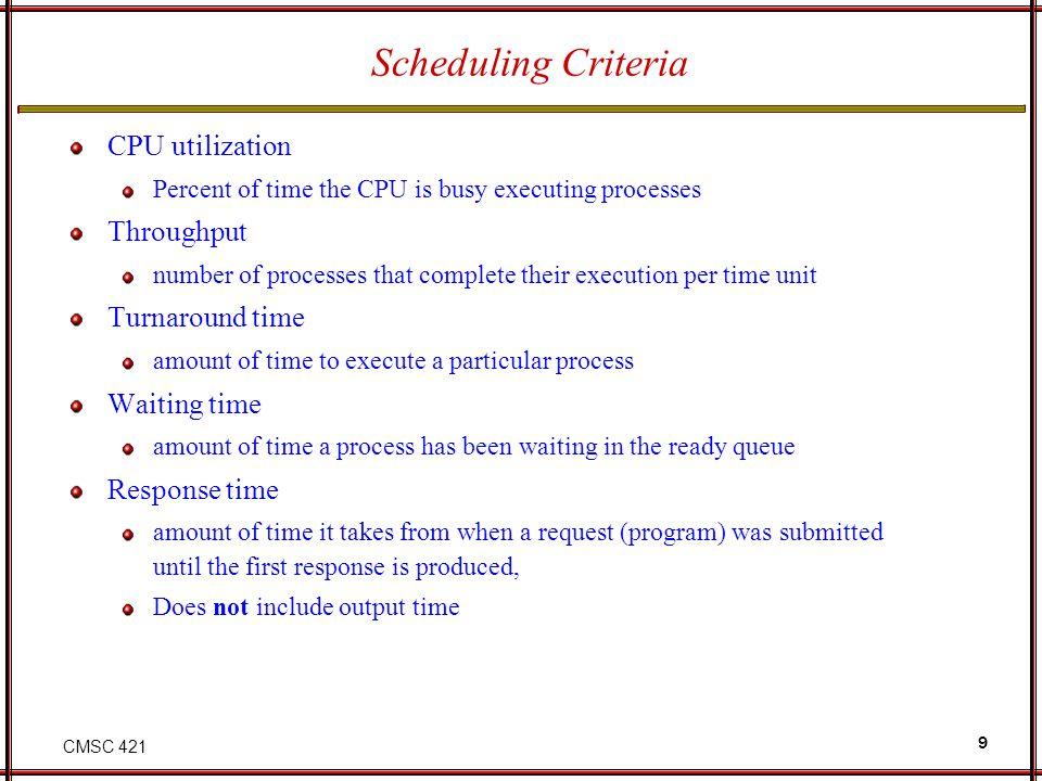 Scheduling Criteria CPU utilization Throughput Turnaround time