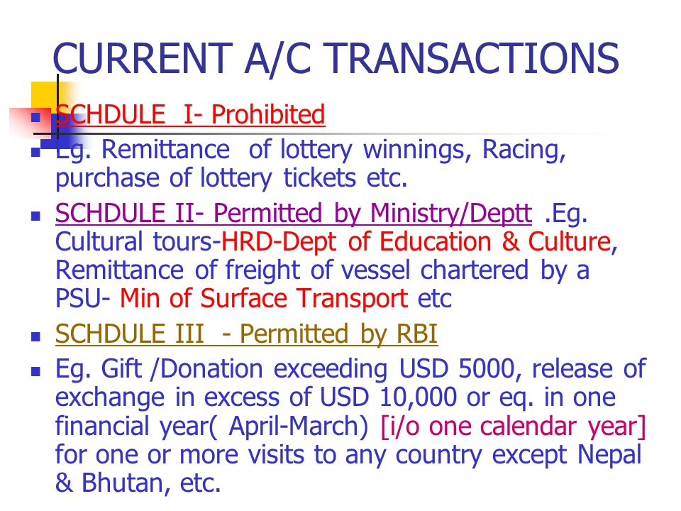 CURRENT A/C TRANSACTIONS