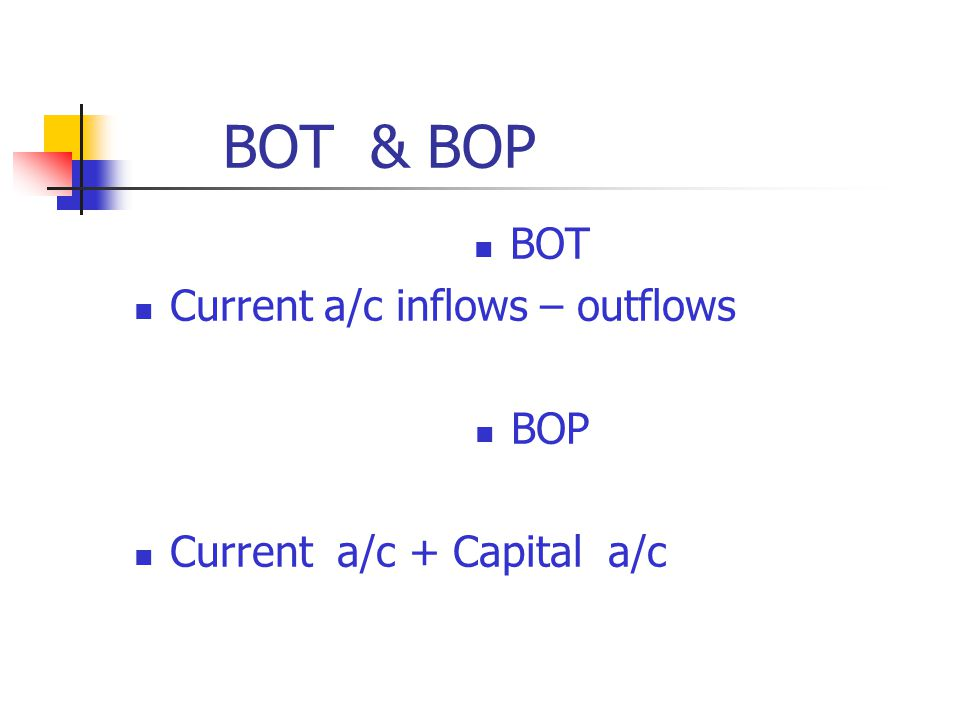 BOT & BOP BOT Current a/c inflows – outflows BOP