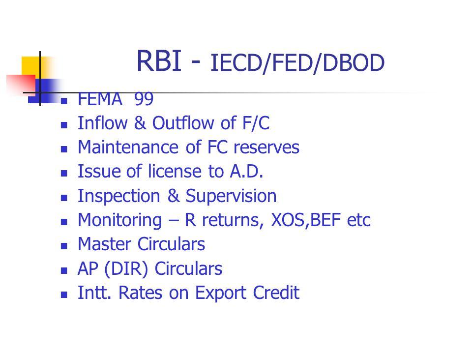 RBI - IECD/FED/DBOD FEMA 99 Inflow & Outflow of F/C