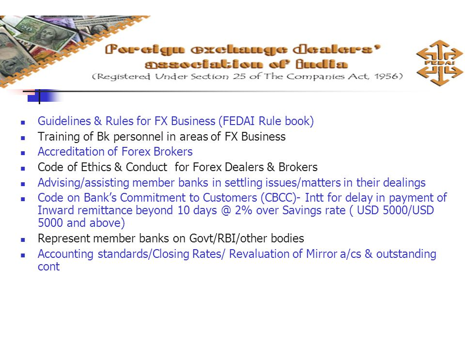 Guidelines & Rules for FX Business (FEDAI Rule book)