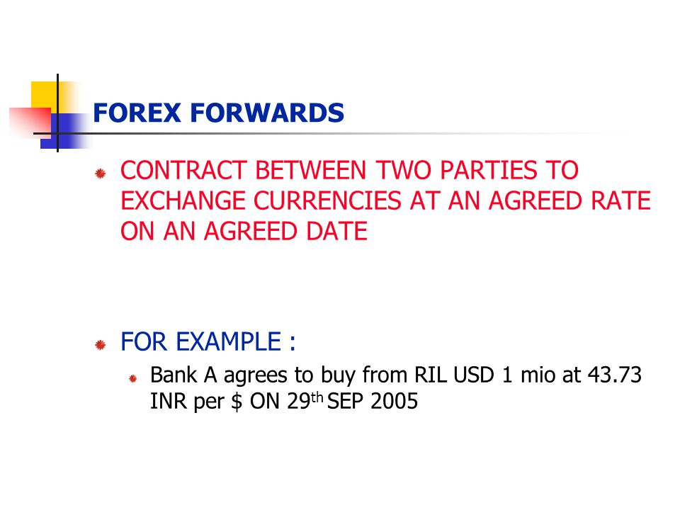 FOREX FORWARDS CONTRACT BETWEEN TWO PARTIES TO EXCHANGE CURRENCIES AT AN AGREED RATE ON AN AGREED DATE.