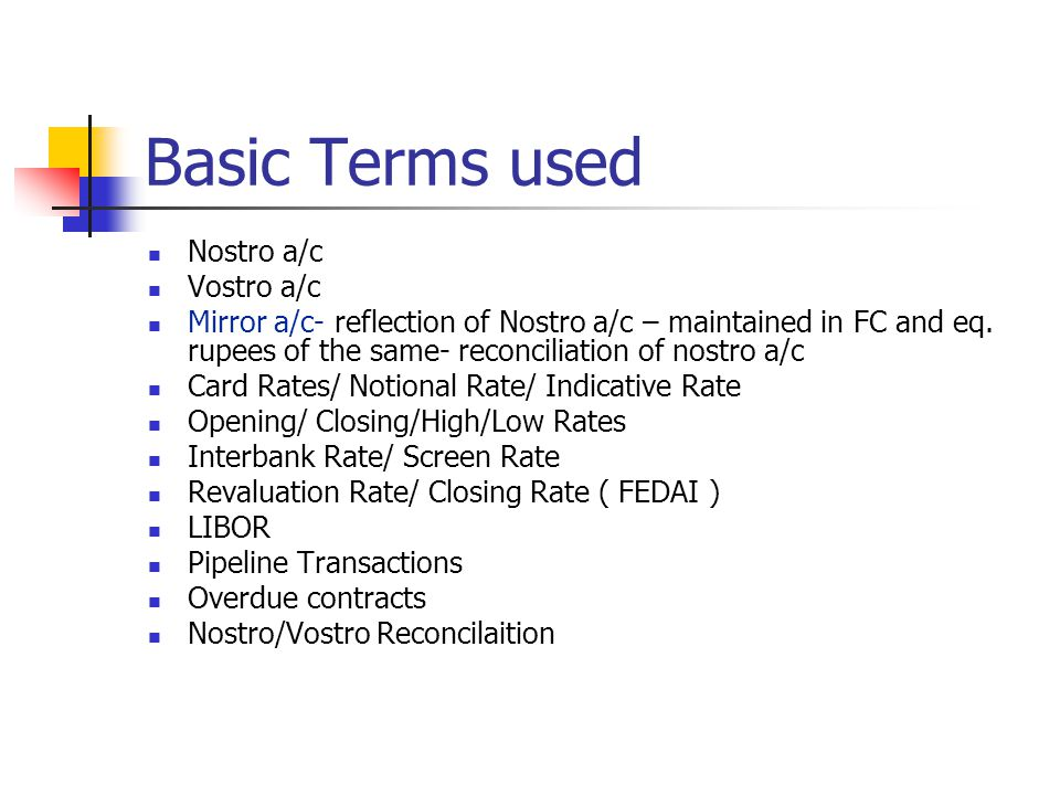 Basic Terms used Nostro a/c Vostro a/c
