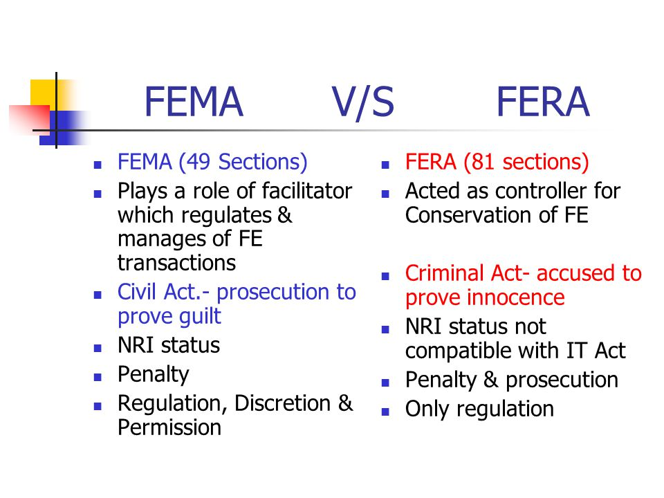 FEMA V/S FERA FEMA (49 Sections)