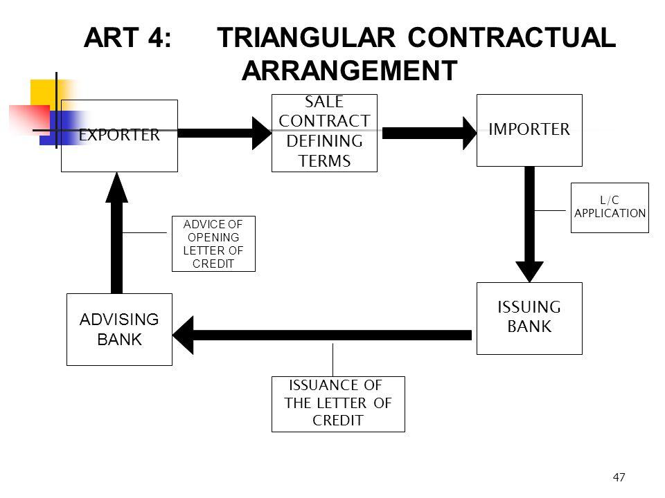 ART 4: TRIANGULAR CONTRACTUAL ARRANGEMENT