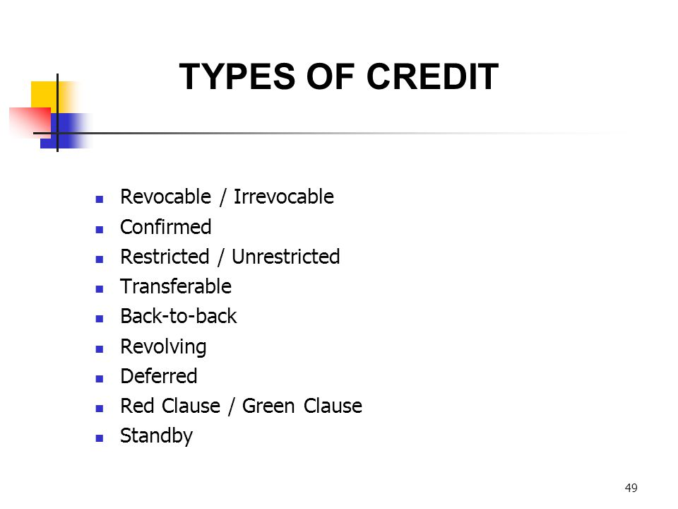 TYPES OF CREDIT Revocable / Irrevocable Confirmed