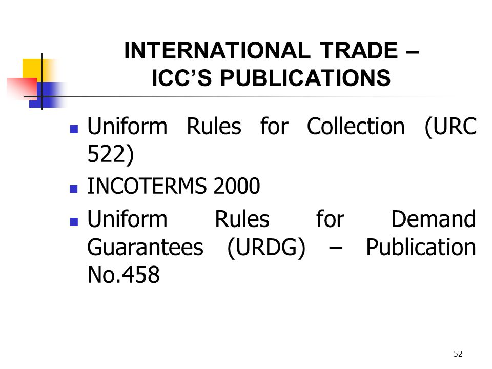 INTERNATIONAL TRADE – ICC'S PUBLICATIONS