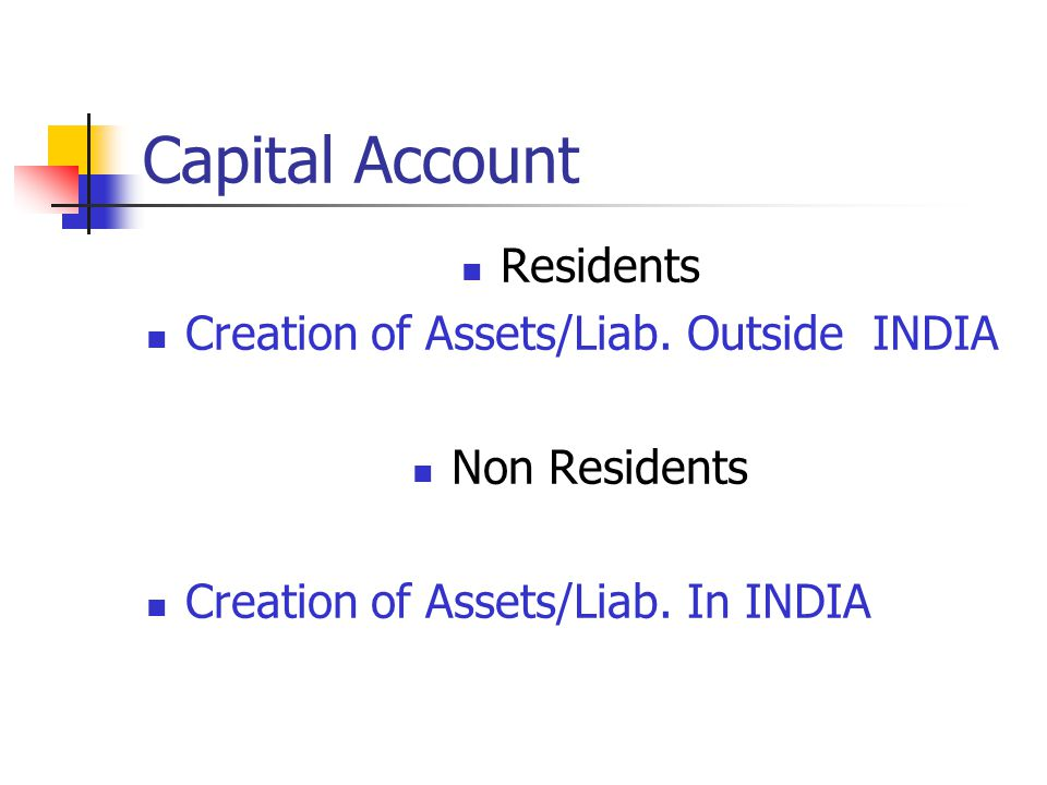 Capital Account Residents Creation of Assets/Liab. Outside INDIA