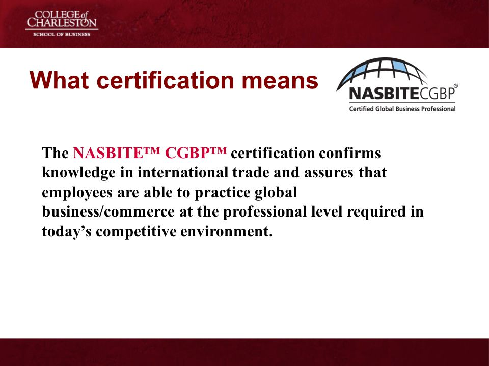 What certification means