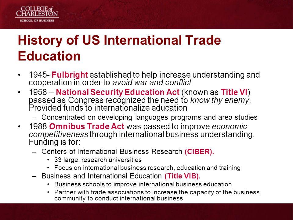 History of US International Trade Education