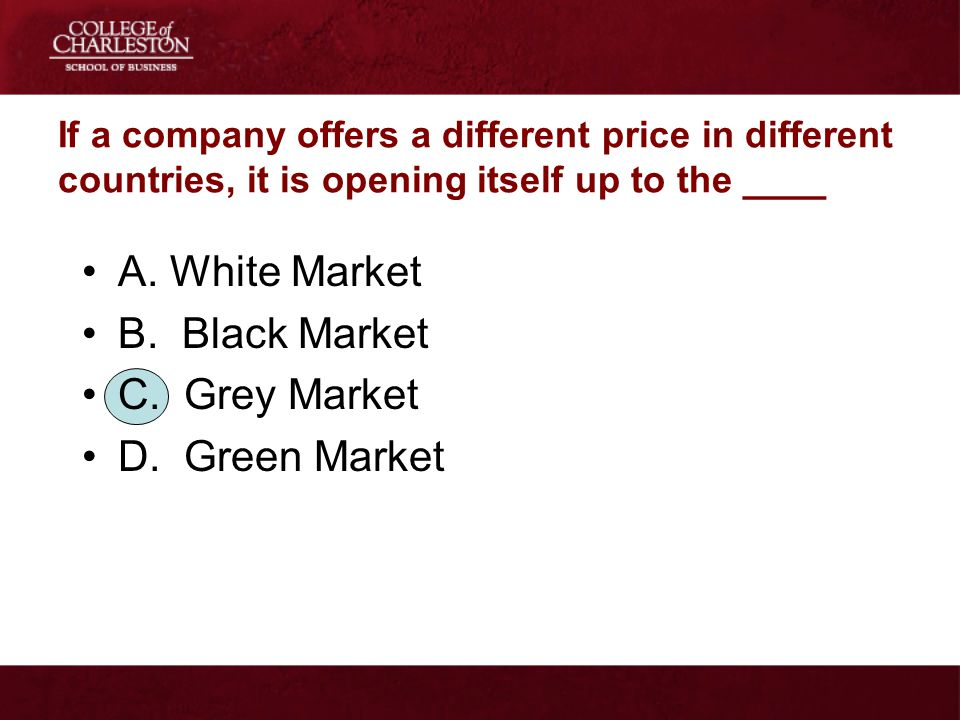 A. White Market B. Black Market C. Grey Market D. Green Market