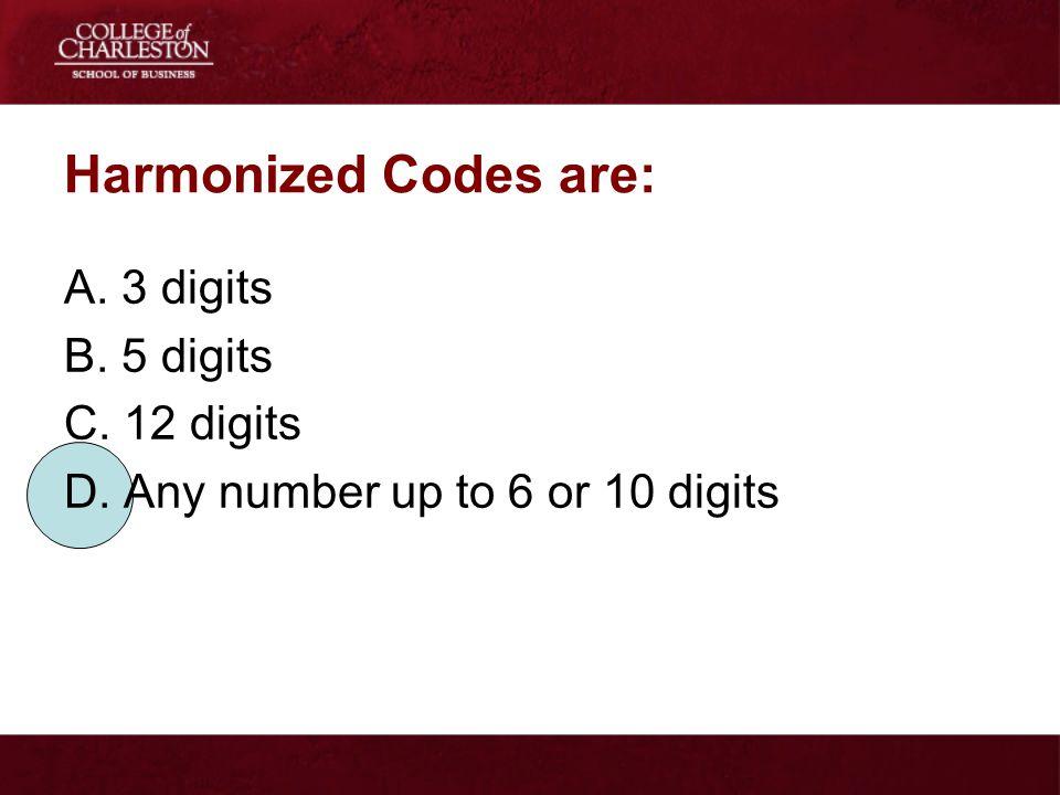 Harmonized Codes are: A. 3 digits B. 5 digits C. 12 digits