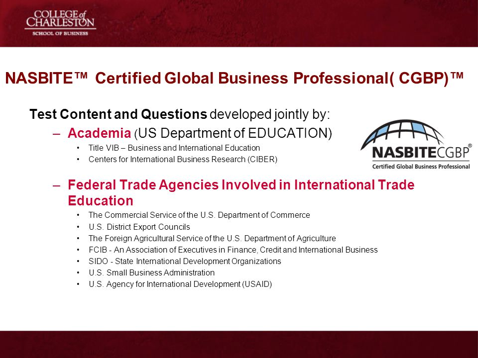 NASBITE™ Certified Global Business Professional( CGBP)™