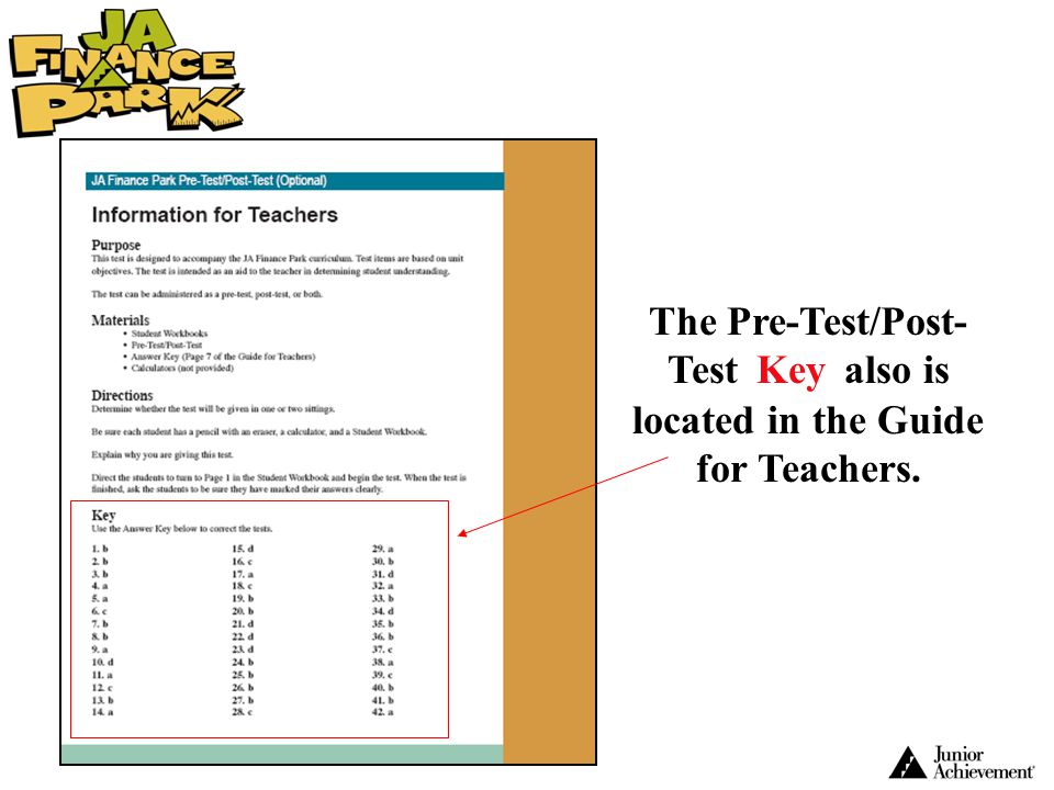 The Pre-Test/Post-Test Key also is located in the Guide for Teachers.