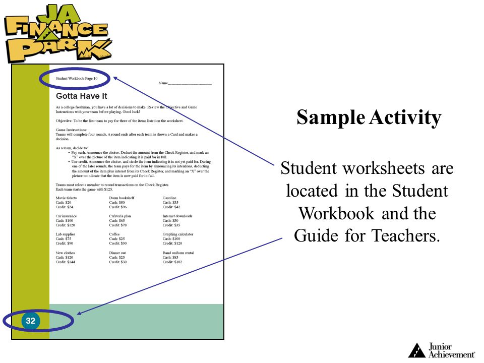 Sample Activity Student worksheets are located in the Student Workbook and the Guide for Teachers.