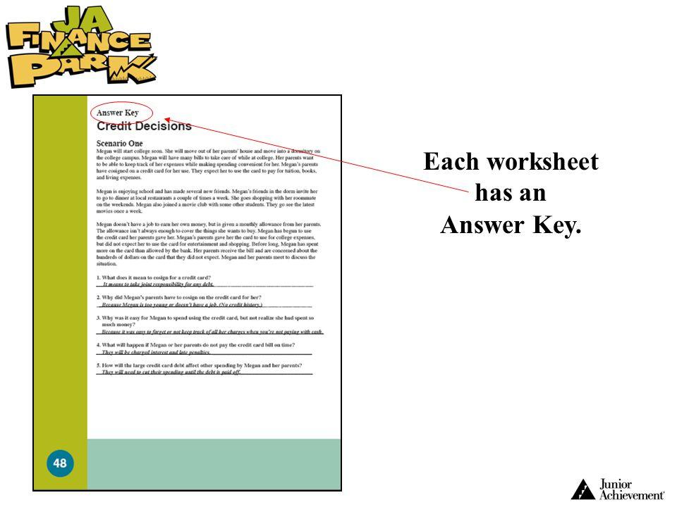 Each worksheet has an Answer Key.