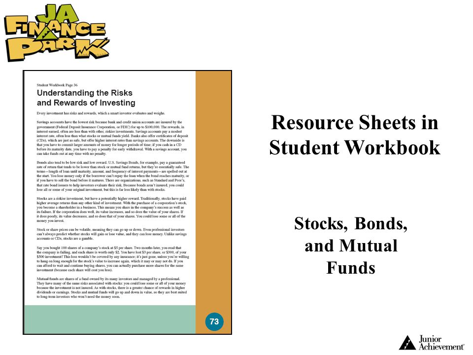 Resource Sheets in Student Workbook Stocks, Bonds, and Mutual Funds